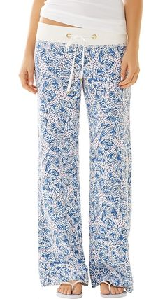 Lilly Pulitzer Linen Beach Pant in Indigo Star Crush