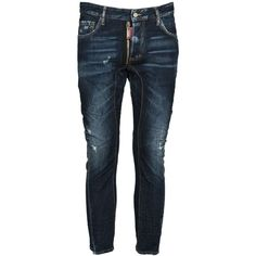Dsquared Be Nice Relaxed Fit Denim Jeans (€439) ❤ liked on Polyvore featuring men's fashion, men's clothing, men's jeans, men's relaxed fit jeans, mens button fly jeans, mens destroyed jeans, mens zipper jeans and mens distressed jeans