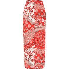 Rode maxirok met print - maxi-rokken - rokken - dames