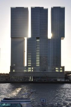"""Rem Koolhaas' studio OMA has completed its colossal De Rotterdam """"vertical city"""" in Rotterdam, the Netherlands. Rem Koolhaas, Architecture Unique, Futuristic Architecture, Interior Architecture, Rotterdam Architecture, Building Architecture, Amazing Buildings, Modern Buildings, Vertical City"""