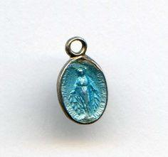 Vintage Sterling Miraculous Medal Blue Enamel Tiny Baby Medal