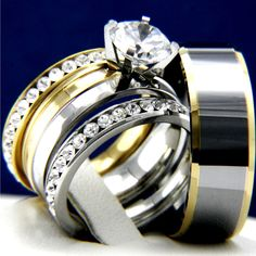 2.04 CT Clear CZ Engagement 316L Stainless Steel Wedding Tungsten Band Ring Sets #InterStoreJewelry