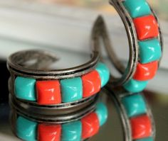 Summer Accessories, Summer Jewelry, Vintage, Oxidized, Sterling Silver, Turquoise Large Hoop, Earrings, Retro