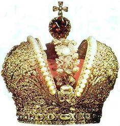These are the crown jewels of the last Russian Tsar.  The diamonds are an inch across each.  It weighs 9 lbs.