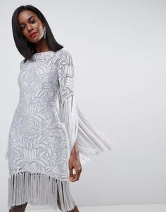 ASOS EDITION All Over Embellished Fringe Dress With Cut Out Back price from payporte in Nigeria. Vestidos Flapper, Frack, Fringe Dress, Latest Dress, Asos Online Shopping, Latest Fashion Clothes, Dress Outfits, High Neck Dress, Beaded Dresses