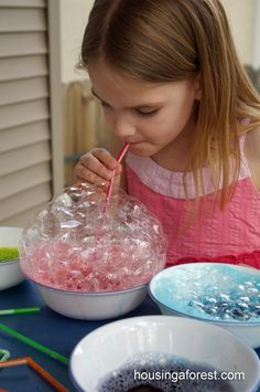 Bubble Painting - A squirt of dish soap, 15 drops of neon food colouring, 1/2 c. of water, straws. Using a straw, students blow until they have a huge pile of bubbles. Gently press paper onto the bubbles, allowing them to pop on the paper.