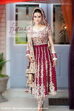 Maroon bridal anarkali dress. Punjabi bridal suit in maroon.
