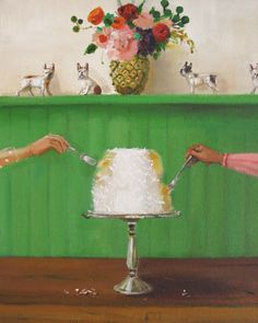"""""""Twelve Days At The Penny Fontaine Hotel. Day Six: Sample the award winning coconut cake at 'Frenchie's Cake Canteen'."""" by Janet Hill Drawings With Meaning, Drawings For Boyfriend, Janet Hill, Drawing People, People Drawings, Drawing Base, Easy Drawings, Pencil Drawings, Art Studios"""