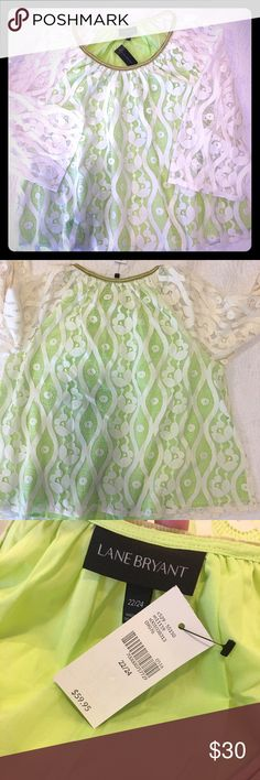 { Lane Bryant } Lacy Cream & Lime Dress Shirt LB size 22/24.  This flowy, fun top will add sunshine to your closet! Pair it with anything from casual jeans to a pencil skirt for a dressier look. Cream-colored lace has a soft, bright green liner and a subtle gold-velvet neckline. Machine-washable. Smoke-free home. Lane Bryant Tops