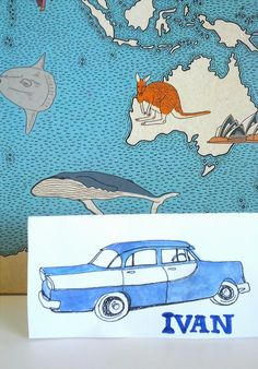 Remembering vintage cars. Enjoy and share the jokes on the back of your coloured or painted in place card. www.speckled.com.au/printables