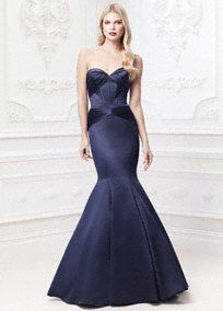 Breathtakingly romantic and exquisitely designed for a truly memorable night!  Strapless sweetheart dress features corset seam detailing and all over body contouring pleats for a stunning figure.  Fit and flare skirt elongates silhouette and adds just the right amount of drama.  Available in Marine. http://www.davidsbridal.com/Product_Long-Starpless-Satin-Fit-and-Flare-Dress-ZP285036_Bridal-Gowns-Shop-By-Designer-Truly-Zac-Posen
