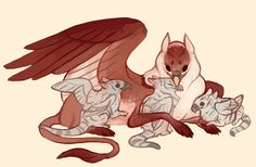 [Gryphon with babies by fancypigeon on DeviantArt]