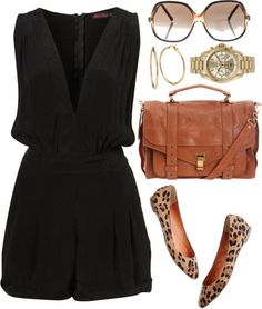 Cute black romper with leopard flats and gold accessories. It's my style. Mode Outfits, Casual Outfits, Fashion Outfits, Womens Fashion, Fashion Trends, Night Outfits, Ladies Fashion, Fasion, Fashion Clothes