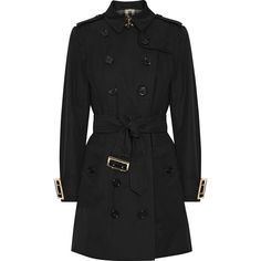 Burberry The Sandringham cotton-gabardine trench coat (£1,635) via Polyvore featuring outerwear, coats, black, cinch coats, burberry trenchcoat, cotton trench coat, double-breasted trench coat and burberry