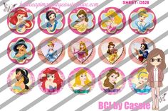 1' Bottle caps (4x6) Disney Princesses D528  CARTOONS/KIDS BOTTLE CAP IMAGES #cartoons #inspired #kids #bottlecap #BCI #shrinkydinkimages #bowcenters #hairbows #bowmaking #ironon #printables #printyourself #digitaltransfer #doityourself #transfer #ribbongraphics #ribbon #shirtprint #tshirt #digitalart #diy #digital #graphicdesign please purchase via link  http://craftinheavenboutique.com/index.php?main_page=index&cPath=323_533_42_54