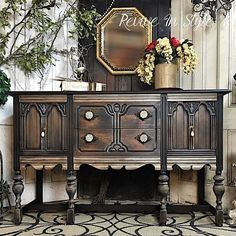 Vintage buffet refinished in lamp black and smokey metallic glazes with exposed natural wood tones | Modern Masters Metallic Paint | Project by Revive in Style
