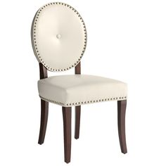 Ivory Leather Cadence Dining Chair
