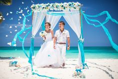 White and turquoise nautical wedding in Cap Cana — Val's Weddings - Dominican Republic Wedding Planner