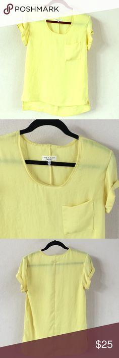 Rag & Bone Yellow Blouse Short rolled sleeve.  Silky material.  Size XS rag & bone Tops Blouses