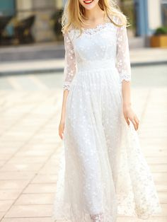 SheIn offers White Sheer Gauze Flowers Embroidered Dress & more to fit your fashionable needs. Source by dress online Luxury Wedding Dress, Classic Wedding Dress, Wedding Dresses, Little Dresses, Cute Dresses, Unusual Dresses, Elegant Dresses For Women, Gauze Dress, Engagement Dresses