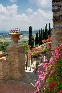 Montefollonico ~ Tuscany, Italy, the view from an amazing balcony