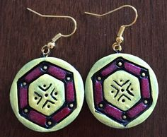 Handmade terracotta earrings in yellow and pink by Riyaterracotta on Etsy https://www.etsy.com/listing/266883842/handmade-terracotta-earrings-in-yellow
