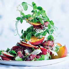 Taste Mag | Beef carpaccio with nectarine salad and English mustard dressing @ http://taste.co.za/recipes/beef-carpaccio-with-nectarine-salad-and-english-mustard-dressing/