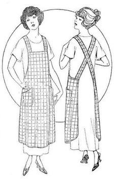 1921 vintage apron pattern copy - or multiple buttons on end of strap and one bottom hole at connection