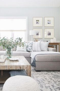 neutral modern farmhouse living room decor with rustic coffee table decor, wall gallery and gray sectional sofa, neutral family room decor Paint Colors For Living Room, Living Room Grey, Rugs In Living Room, Home And Living, Living Room Furniture, Living Room Designs, Small Living, Wooden Furniture, Antique Furniture