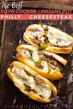 These Slow Cooker Cheesesteak sandwiches are AMAZING! Melt-in-your-mouth good. And I've included Instant Pot instructions as well! These are AMAZING! Melt-in-your-mouth good. And I've included Instant Pot instructions as well! Steak Recipes, Crockpot Recipes, Cooking Recipes, Philly Cheese Steak Crock Pot Recipe, Crockpot Dishes, Burger Recipes, Speggetti Recipes, Steak Meals, Lentil Recipes