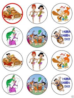 """15 x 2"""" FLINTSTONES PRE CUT ICING Cup Cake Toppers Decorations 