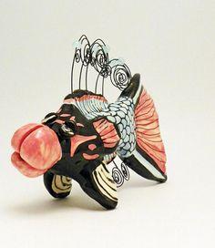 Ceramic Sculpture Fish Photo Holder Made to Order by JudyBFreeman, $30.00 USD