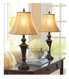 Table Lamps Pair Rich Espresso Silk Like Gold Fabric Shades Living Room Bedroom #BH #Traditional
