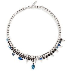 Joomi Lim 'Organized Chaos' spike crystal chain necklace (685 AUD) ❤ liked on Polyvore featuring jewelry, necklaces, metallic, punk jewelry, crystal jewelry, spike jewelry, studded jewelry and crystal necklace