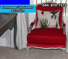 Enjoy your furniture again with a new, fresh look and gorgeous material from #Kommaweer. Give us a call on 044 870 7510 for any of your #upholstery and curtaining needs.