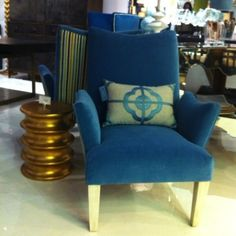 Julian Chichester peacock blue upholstered chair at High Point Market
