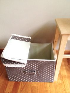 Natural Linen Polka Dot Lace Cloth Storage Box Nursery By Thebhome 30 00