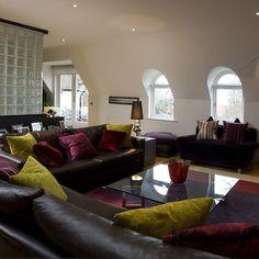 Green Burgundy Living Room