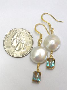 Vintage, rare Saphiret glass and Coin Pearl earrings. $98.00
