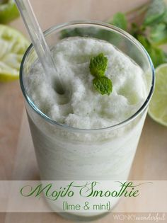 Healthy Mojito Smoothie Recipe - Lime and Mint - wonkywonderful.com #healthy #smoothie