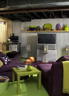 Good idea for the garage. See a few things i could implement in the teen hangout space I want to create. Living Room Color Schemes, Paint Colors For Living Room, Living Room Designs, Unfinished Basement Decorating, Basement Ideas, Teen Basement, Unfinished Basements, Basement Inspiration, Basement Walls
