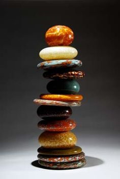 """Stacked Stones """"Pohacu"""" Amber Earth by Robert Madvin"""