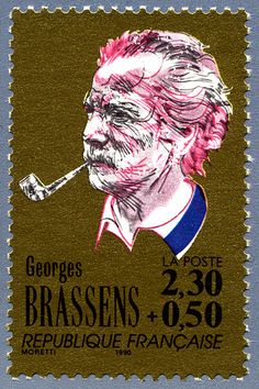 Zoom sur le timbre «Georges Brassens La chanson française»