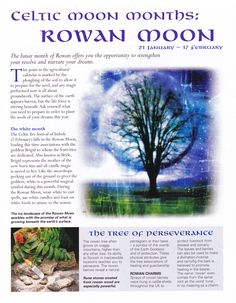 Moon: Celtic #Moon Months: Rowan Moon.