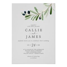 Modern Olive Branch | Gray Casual Wedding Invite with elegant yet rustic watercolor botanical green leaves and black olives on a branch with a classic mediterranean feel on a silver grey background. Click to customize with your personalized details today. Casual Wedding Invitations, Beautiful Wedding Invitations, Wedding Invitation Sets, Invitation Design, Invite, Gray Background, Olives, Green Leaves, Floral Watercolor