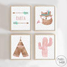 Conjunto de 4 láminas infantiles con estilo indio: flechas con nombre, zorro con plumas, Tipi y cactus rosa. Paleta de colores: Tonalidades rosa claro empolvado, marrón y verde mint. El precio incluye las 4 ilustraciones (zorro indio, tipi, cactus y flechas). ------- SET of 4 illustrations in watercolor, perfect for a American native decor: custom arrows, teepee, baby fox, cactus. Color palette: light pink, mint green and brown. By MARAQUELA Watercolor Nursery Drawings, Nursery Prints, Nursery Wall Art, Kids Room Art, Art Wall Kids, Art For Kids, Childrens Bedroom Decor, Baby Room Decor, Baby Room Colors