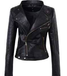handmade+women+Black+Leather+Jacket++women+Black+by+ukmerchant,+$169.99