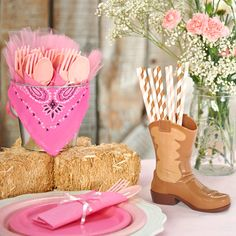 I found this great Birthday Party idea on BirthdayExpress.com. D.I.Y. Pink Cowgirl Table Decor, Birthday Express helps create memories that last a lifetime - click here to start the fun!