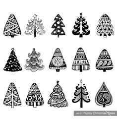 Set of drawn doodle christmas trees vector by azzzya on VectorStock®