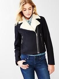 Sherpa-collar moto jacket available from The Gap